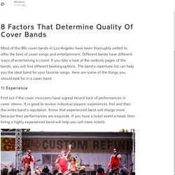 Some Important points that determine quality of cover bands