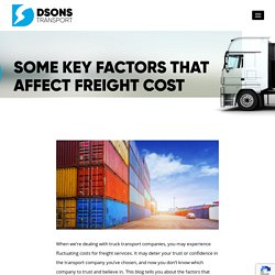 Some Key Factors That Affect The freight Cost
