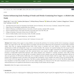 Factors Influencing Early Feeding of Foods and Drinks Containing Free Sugars—A Birth Cohort Study