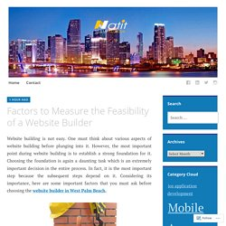 Factors to Measure the Feasibility of a Website Builder – Natit LLC