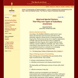 Mind and Mental Factors: The Fifty-one Types of Subsidiary Awareness