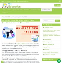 On Page Seo Factors that Impact On Web Traffic - Try Education Types