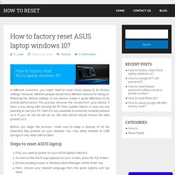 How to factory reset ASUS laptop?