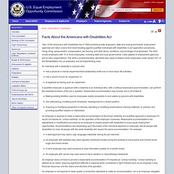 Facts About the Americans with Disabilities Act