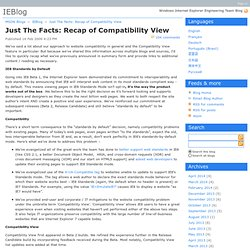 Just The Facts: Recap of Compatibility View - IEBlog