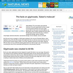 The facts on glyphosate, 'Satan's molecule'
