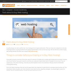 Facts about to buy Web hosting - SaremcoTech