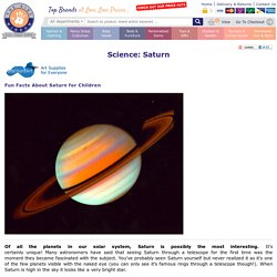 Some Fun Facts on Saturn for Kids from our Homework Help Pages
