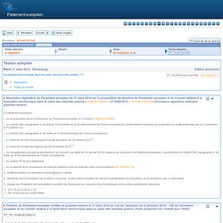 Parlement Européen 11 mars 2014 - Facturation électronique