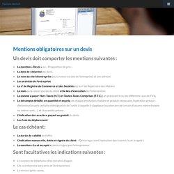 Info facture devis facturation : Mentions obligatoires sur un devis