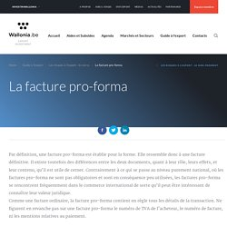 La facture pro-forma - Wallonia.be - Export Investment