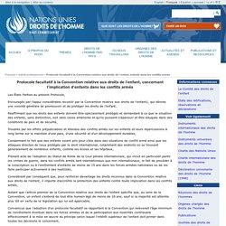 Protocole facultatif à la Convention relative aux droits de l´enfant, enfants dans les conflits armés