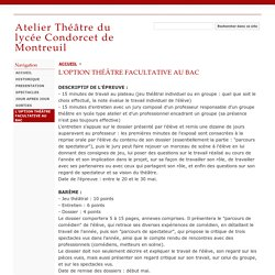 L'OPTION THÉÂTRE FACULTATIVE AU BAC - Atelier Théâtre du lycée Condorcet de Montreuil