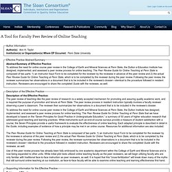 A Tool for Faculty Peer Review of Online Teaching | The Sloan Consortium®