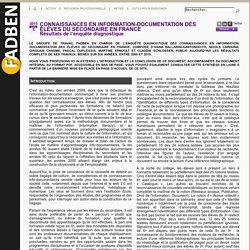 FADBEN :Connaissances en information-documentation des élèves du secondaire en France Résultats de l'enquête diagnostique
