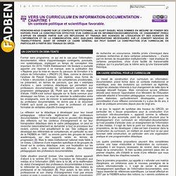 Vers un curriculum en information-documentation - Chap 1 - Un contexte scientifique et politique favorable