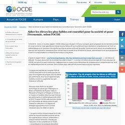Aider les élèves les plus faibles est essentiel pour la société et pour l'économie, selon l'OCDE