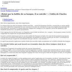 «Ruiné par la faillite de sa banque, il se suicide!» L'édito de Charles SANNAT