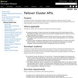 Failover Cluster APIs