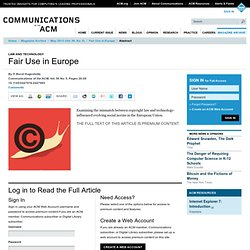 Fair Use in Europe