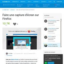 Faire une capture d'écran sur Firefox