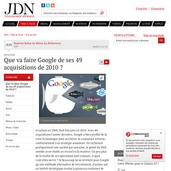 Que va faire Google de ses 49 acquisitions de 2010 ?