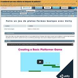 Faire un jeu de plates-formes basique avec Unity