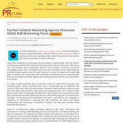 Fairfax Content Marketing Agency Discusses NOVA B2B Marketing Plans