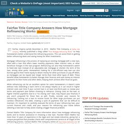 Fairfax Title Company Answers How Mortgage Refinancing Works