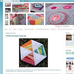 Twirly Hexagon mug rug