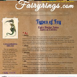 Fairyring.com - Types of Fey