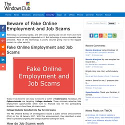 Fake Online Employment And Job Scams are on the rise