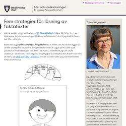 Fem strategier för läsning av faktatexter
