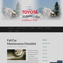 Fall Car Maintenance Checklist