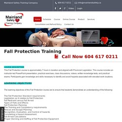 Fall Protection Awareness Training Programme in Canada