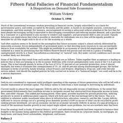 Vickrey, William. 1996. 15 Fatal Fallacies of Financial Fundamentalism