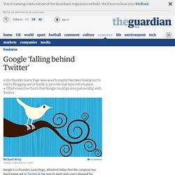 Google falling behind Twitter