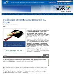 Falsification of qualifications massive in SA: Expert:Thursday 13 November 2014