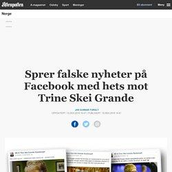 Sprer falske nyheter på Facebook med hets mot Trine Skei Grande