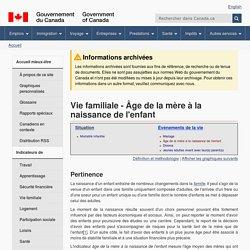 Vie familiale - Âge de la mère à la naissance de l'enfant - Indicateurs de mieux-être au Canada - Canada.ca