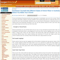 Familiarize Yourself with Different Styles of Active Wear in Australia Before You Make Your Choice