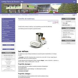 Familles de matériaux. - Collège Pierre de Ronsard - Mer