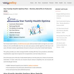 Star Family Health Optima Plan – Review, Benefits & Features 2020