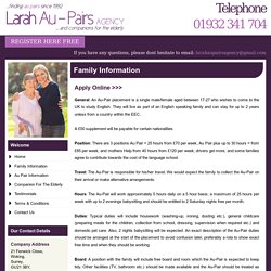 Family Information - Larah Au-Pairs, UK