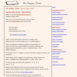 Famous Haiku Poems - Famous Haiku Examples