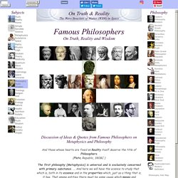 Famous Philosophers on Truth Reality and Wisdom