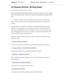 » 29 Famous Writers' Writing Rules
