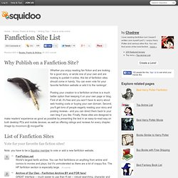 Fanfiction Site List