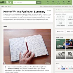 How to Write a Fanfiction Summary: 5 Steps