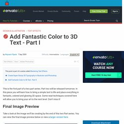 Add Fantastic Color to 3D Text – Part I